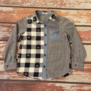 🎇 Paw in Paw Denim & Checkered Button Down Shirt